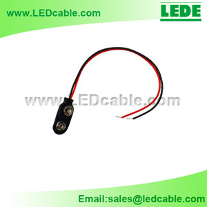 DC-06: 9V Battery Clip/Snap with tinned red & black leads