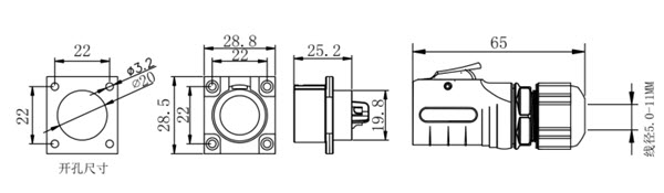 OLD-04: Waterproof Circular Data Connector For LED Display-dimension