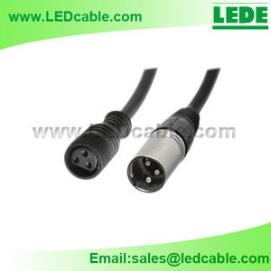 WDX-03B: IP68 Waterproof 3-Pin Female to XLR Male DMX Adapter Cable