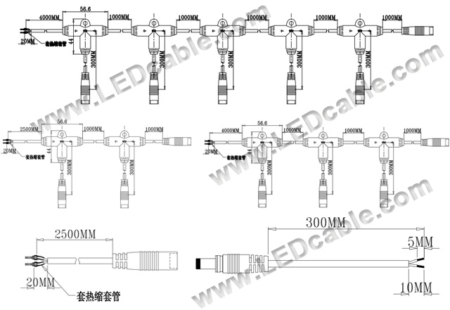 IP64 Waterproof DC Cable Kits For Outdoor LED lighting Project