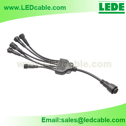 WDC-12:IP68 Screw Locking 6-Way 2Pin Waterproof Splitter Cable for LED Lighting