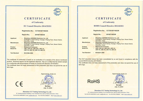 Certificate of CE & RoHS for Waterproof Connector is updated.
