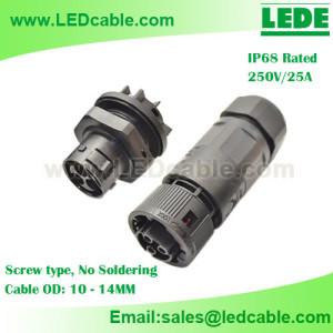 LWC-24:25A IP68 Waterproof Panel Mount Socket Connector