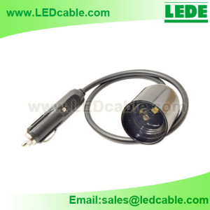 DC-33:Car Cigarette Lighter to E27 Holder Adapter Cable